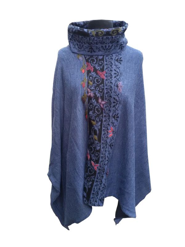 Ethnic Pullover, Blau & Schwarz